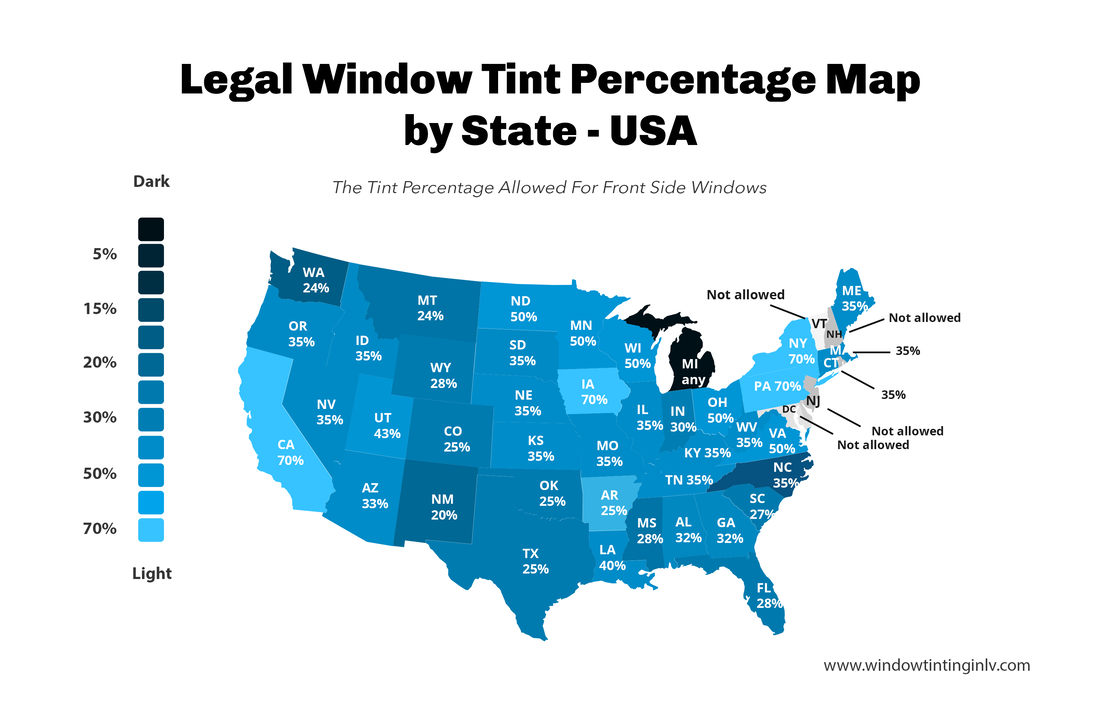 Legal Window Tint Percentage Map by State - USA